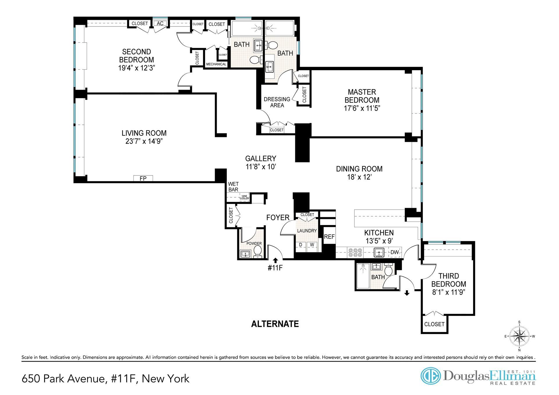 Floor plan of 650 Park Avenue, 11F - Upper East Side, New York