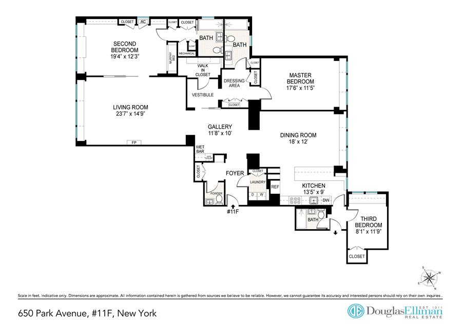 Floor plan of 650 Park Avenue, 11F - Upper East Side, New York