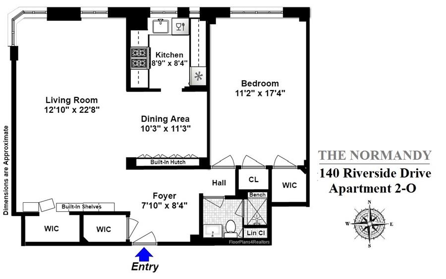 Floor plan of 140 Riverside Drive, 2O - Upper West Side, New York