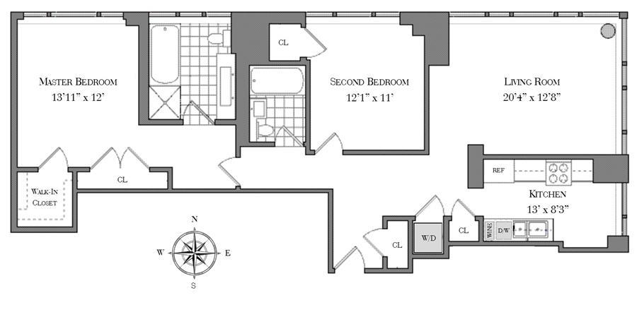 Floor plan of The Veneto, 250 East 53rd St, 1702 - Midtown, New York