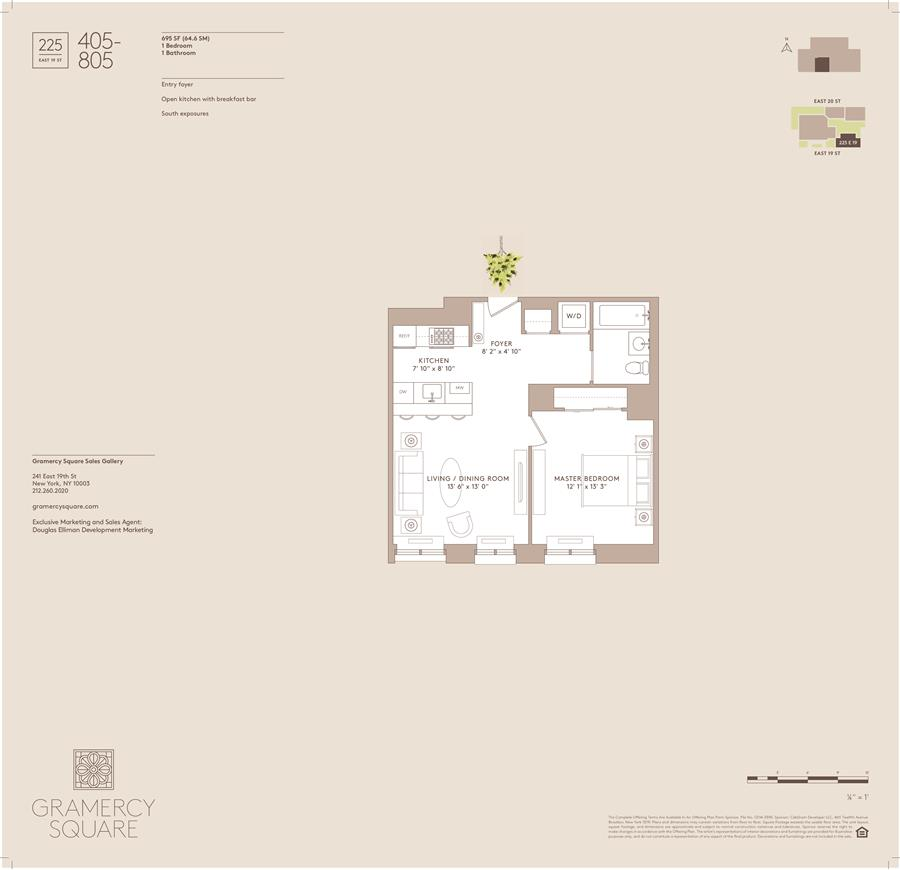 Floor plan of Gramercy Square, 225 East 19th St, 705 - Gramercy - Union Square, New York