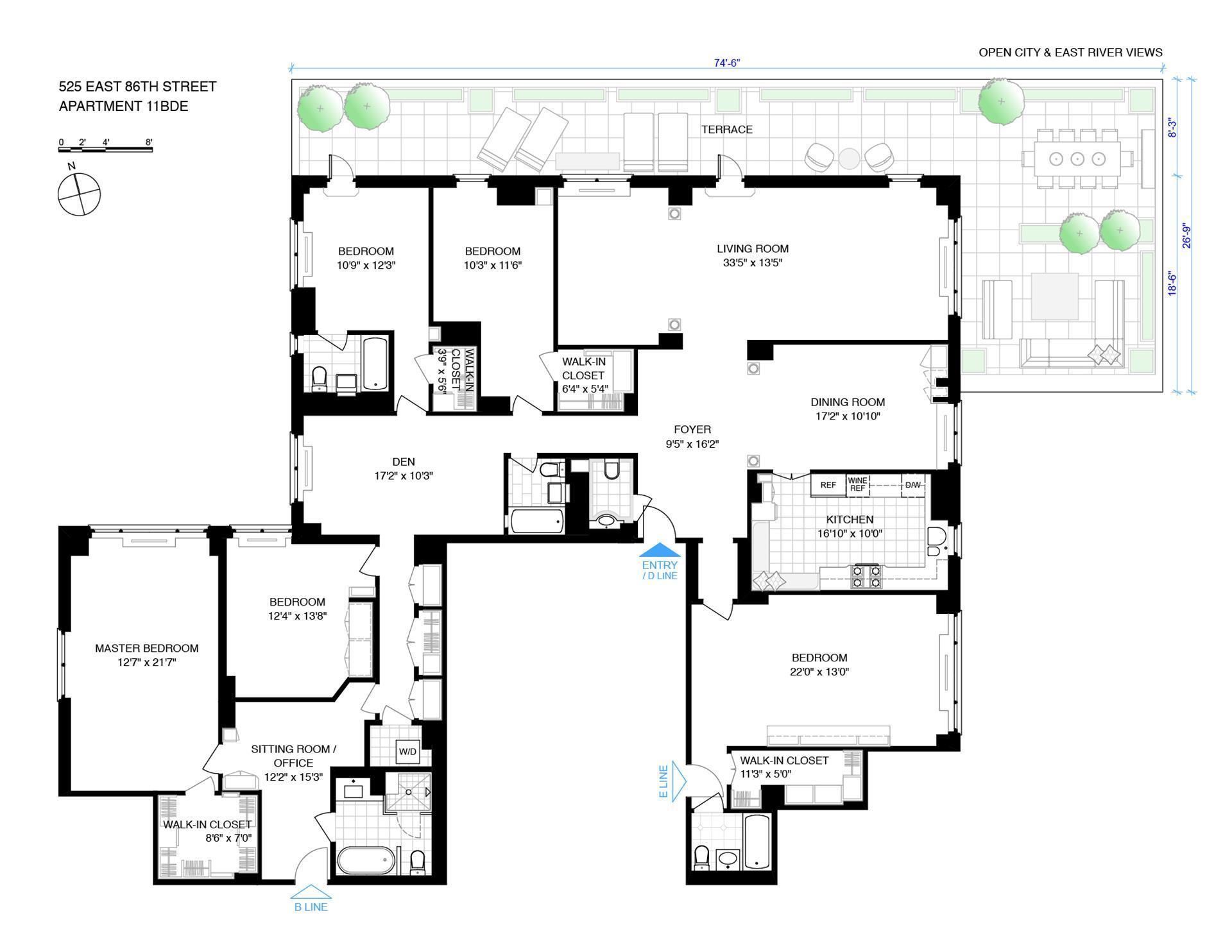 Floor plan of 525 East 86th Street, 11BDE - Upper East Side, New York