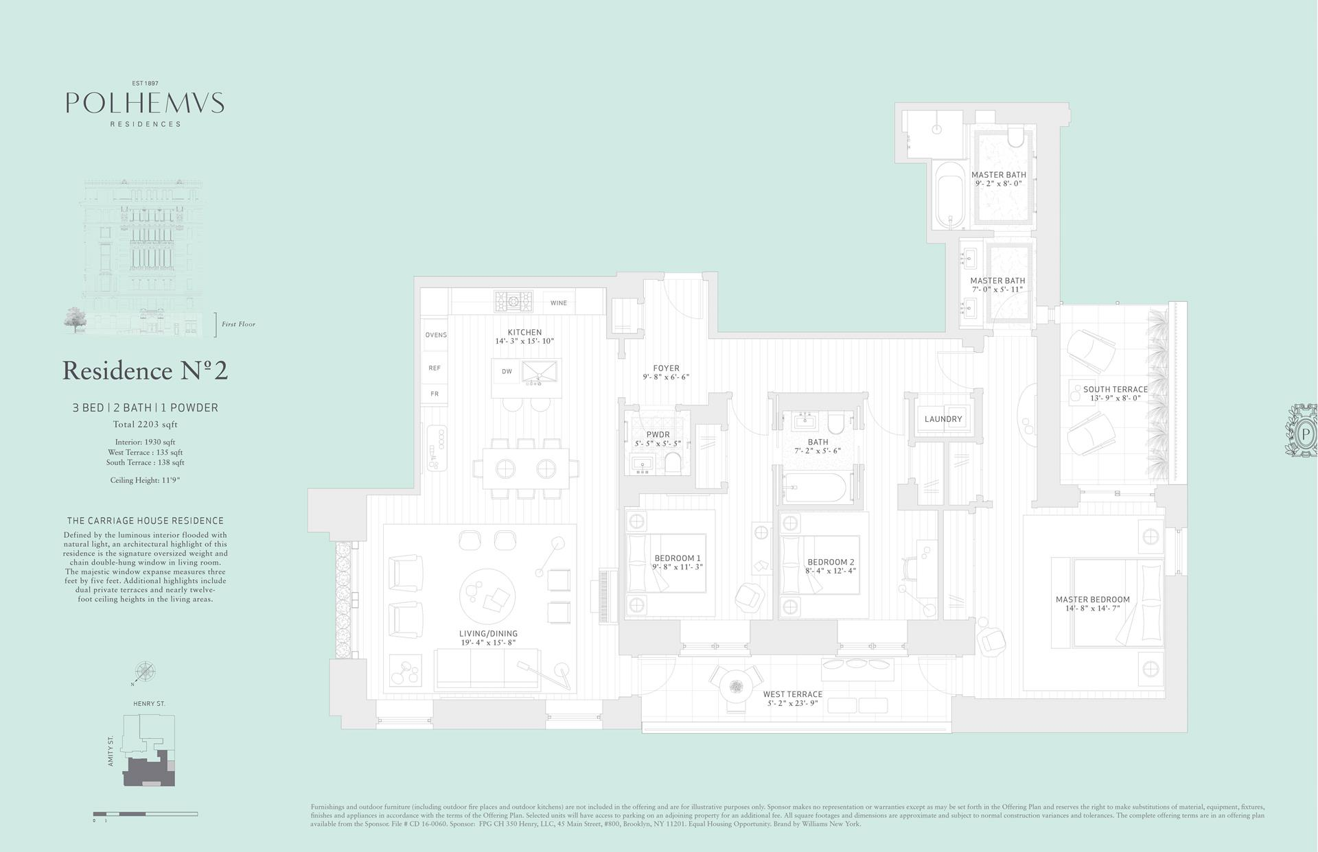 Floor plan of Polhemus, 100 Amity St, RESIDENCE2 - Cobble Hill, New York