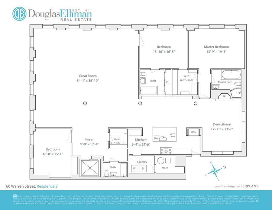 Floor plan of THE MUNITIONS, 60 Warren St, 3 - TriBeCa, New York