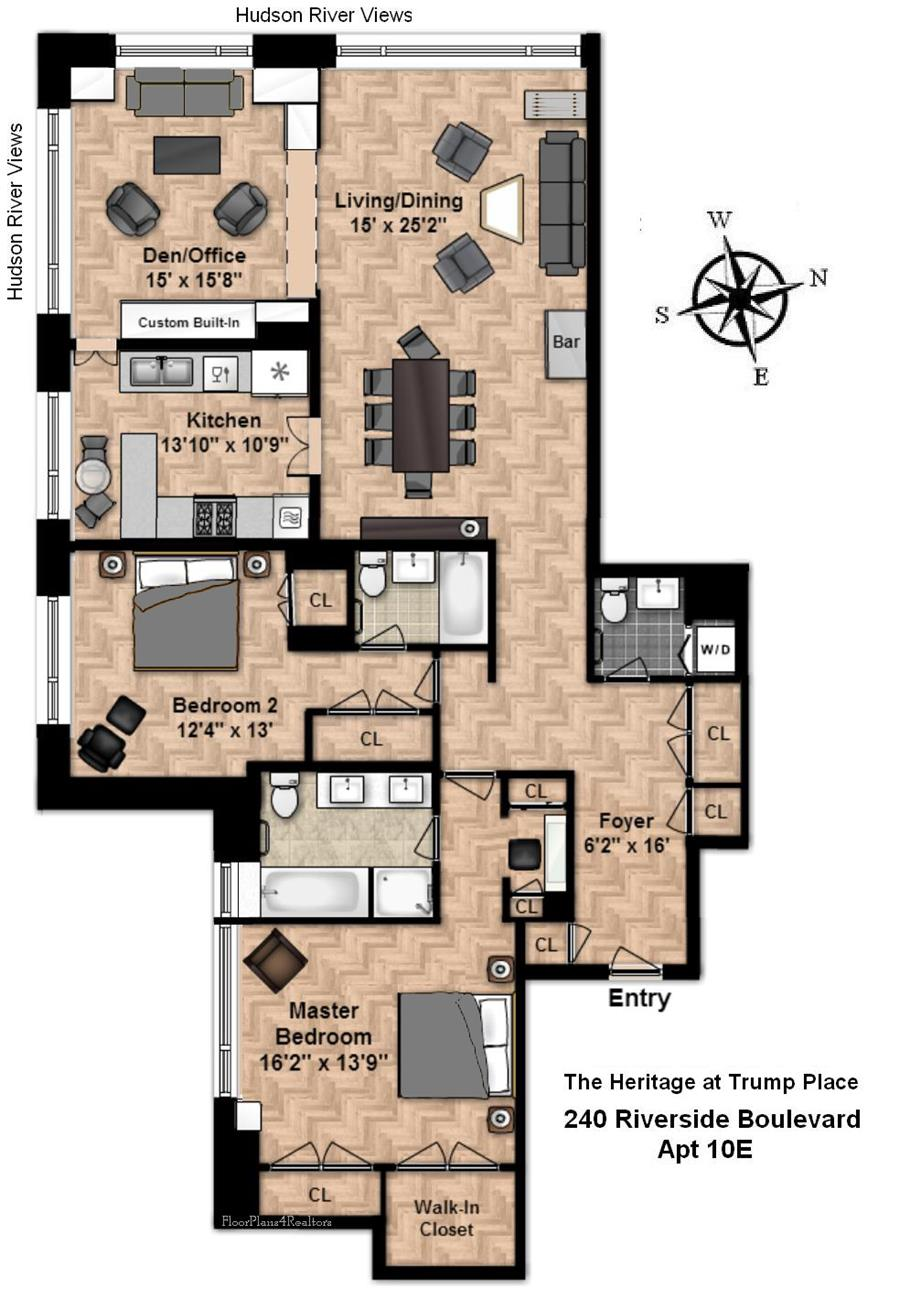 Floor plan of The Heritage, 240 Riverside Boulevard, 10E - Upper West Side, New York