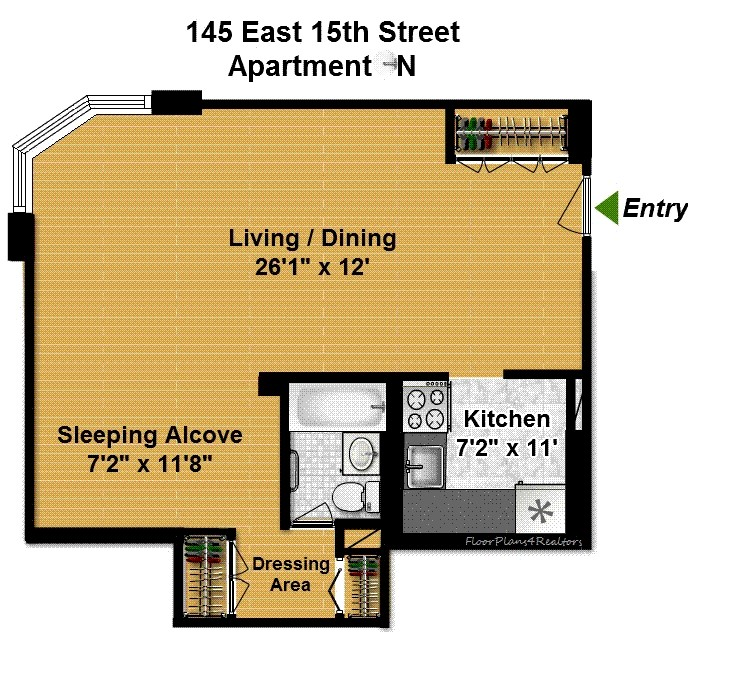 Floor plan of 145 East 15th St, 4N - Gramercy - Union Square, New York