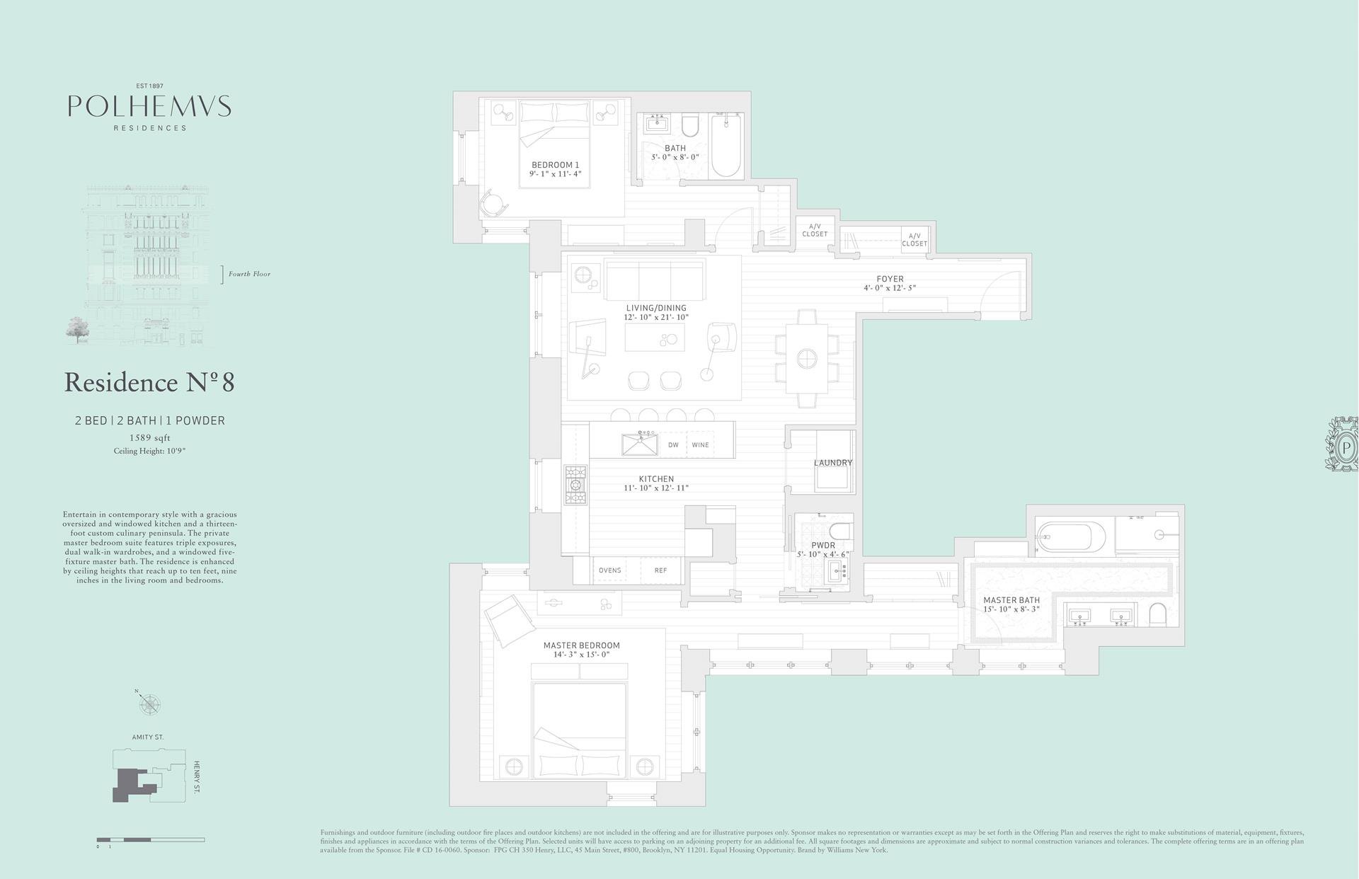 Floor plan of Polhemus, 100 Amity St, RESIDENCE8 - Cobble Hill, New York