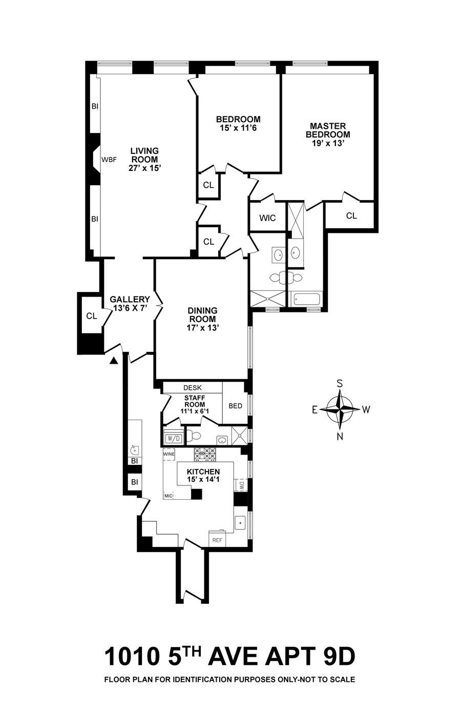 Floor plan of 1010 TENANTS CORP, 1010 Fifth Avenue, 9D - Upper East Side, New York