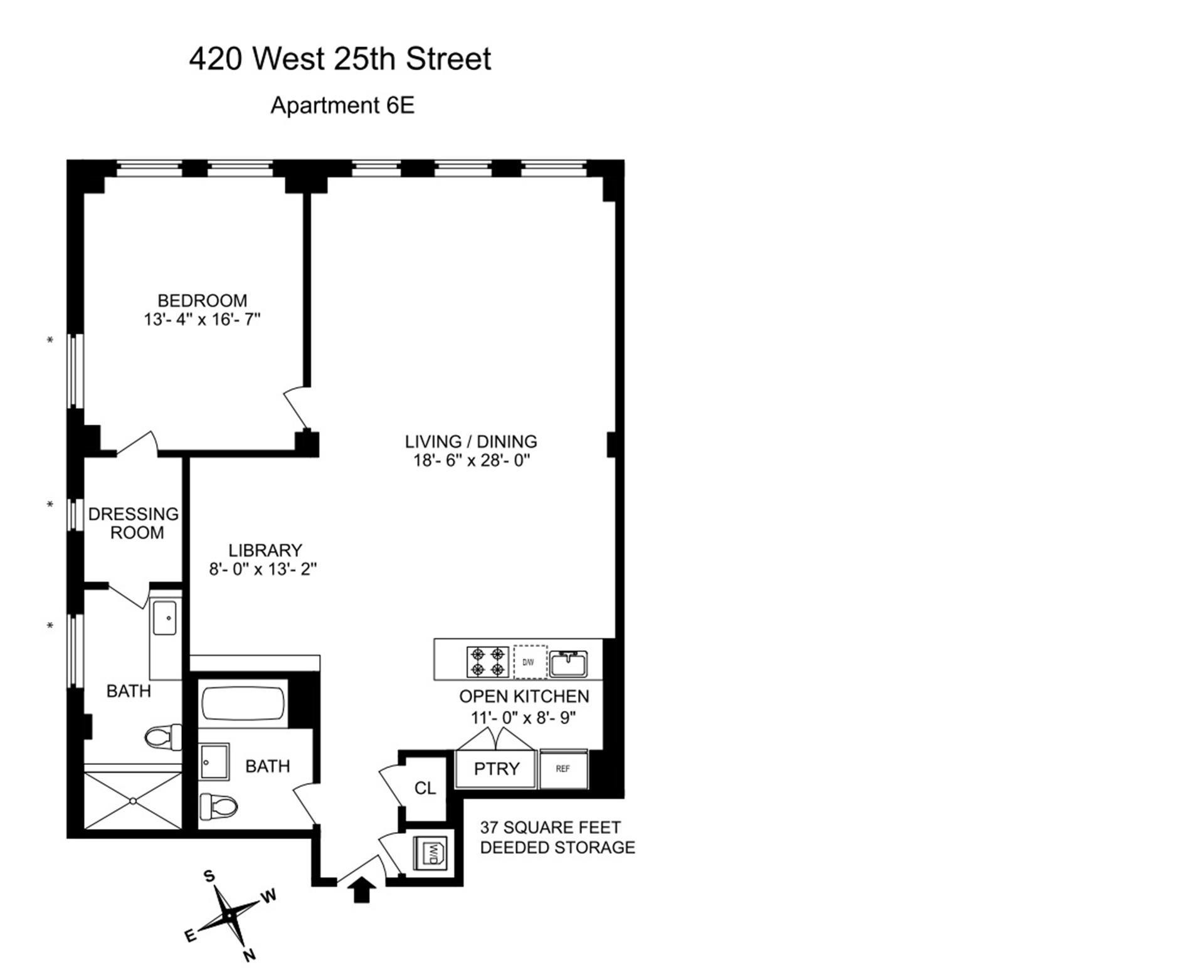 Floor plan of LOFT 25, 420 West 25th St, 6E - Chelsea, New York