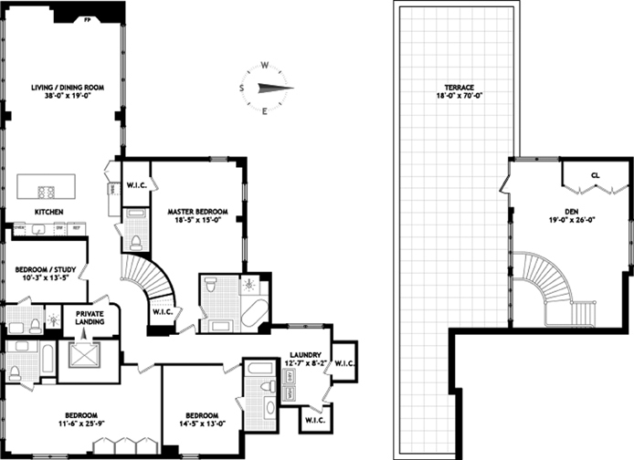 Floor plan of Liberty Lofts, 43 West 64th St, PH14A - Lincoln Square, New York
