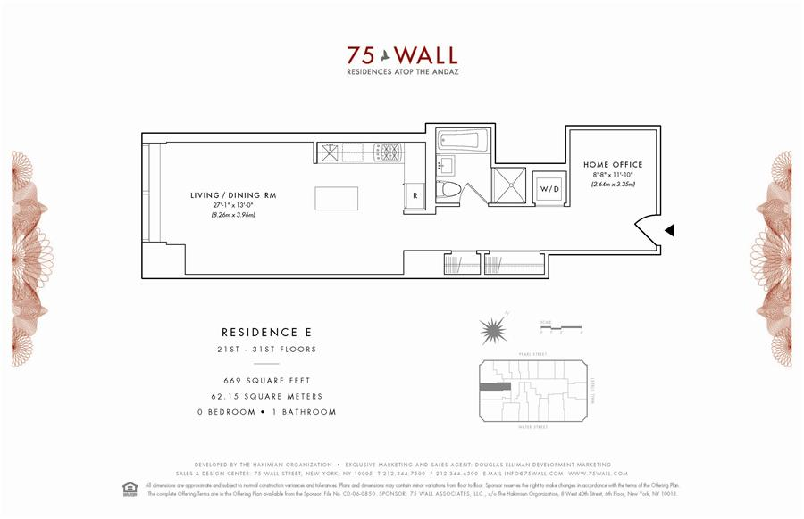 Floor plan of 75 Wall St, 24E - Financial District, New York
