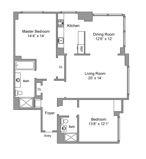 Floor plan of Trump Place 220, 220 Riverside Boulevard, 41BN - Upper West Side, New York