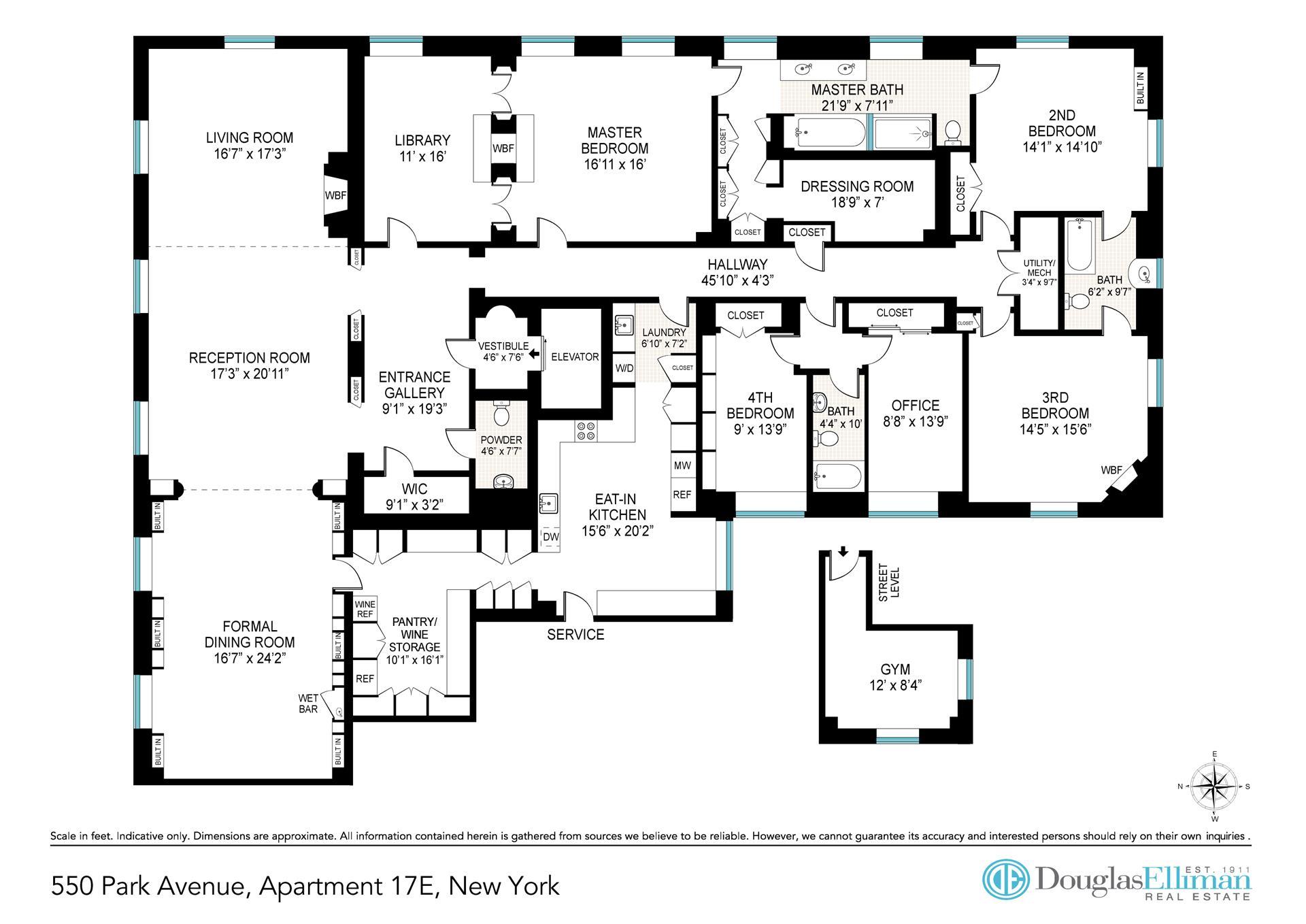 Floor plan of 550 Park Avenue, 17E - Upper East Side, New York