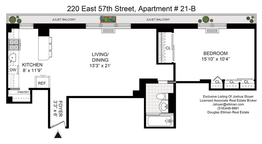 Floor plan of Carlton East, 220 East 57th St, 21B - Sutton Area, New York