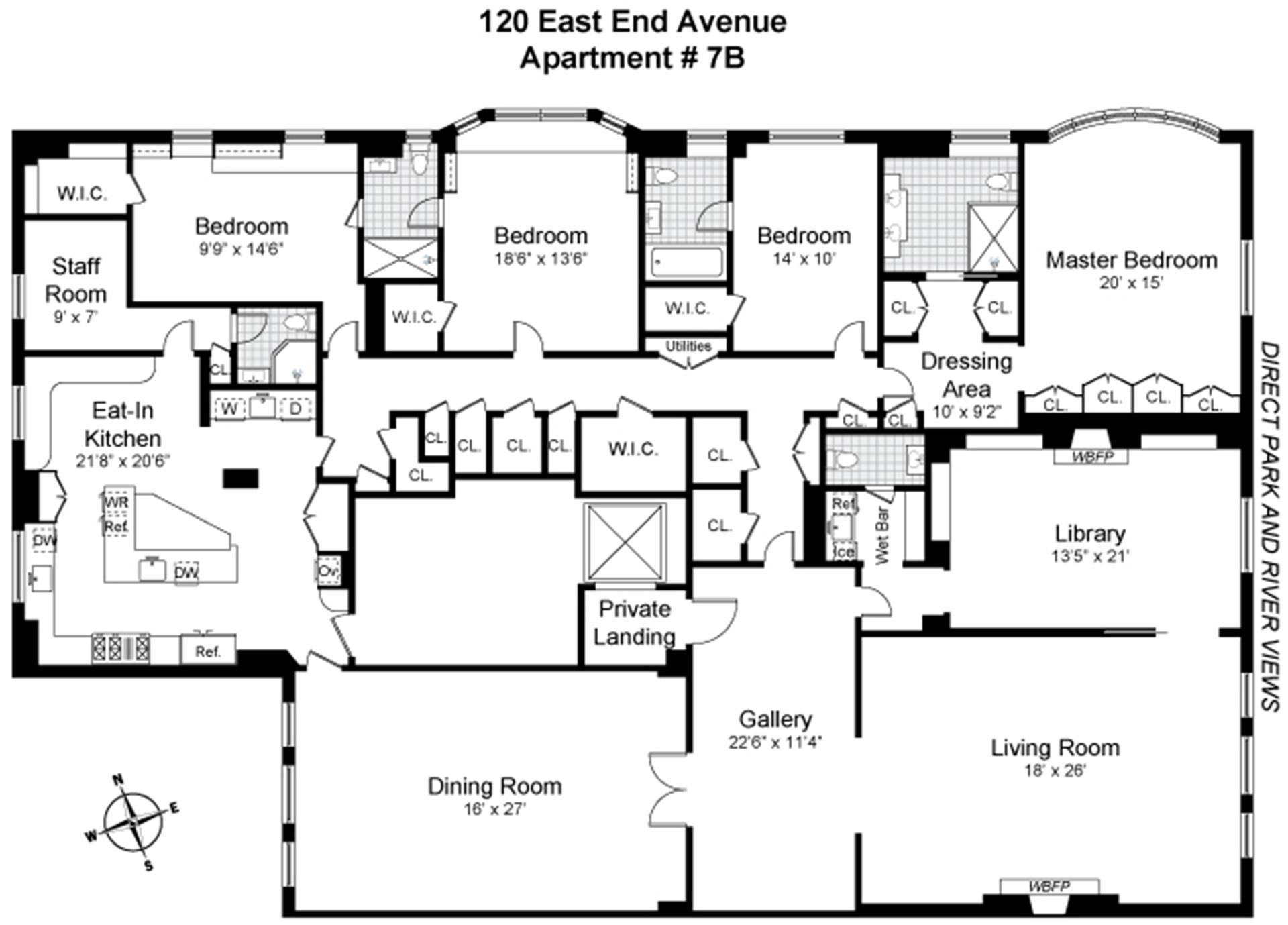 Floor plan of 120 East End Avenue, 7B - Upper East Side, New York