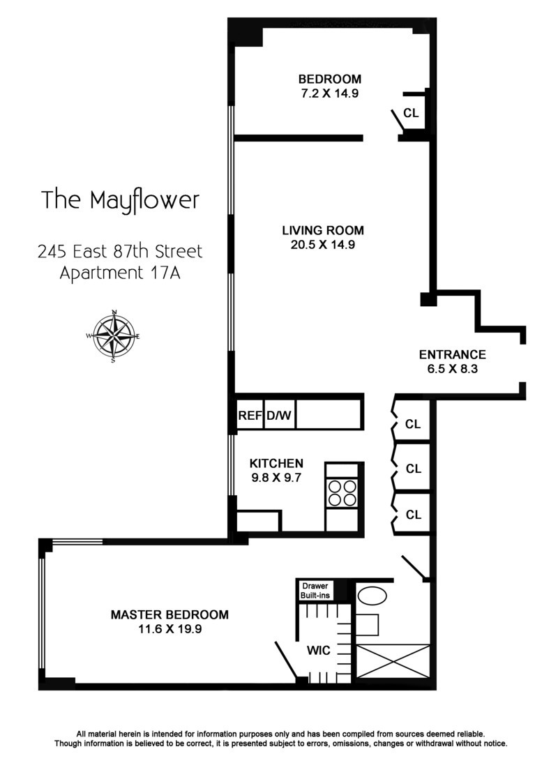 Floor plan of THE MAYFLOWER, 245 East 87th St, 17A - Upper East Side, New York