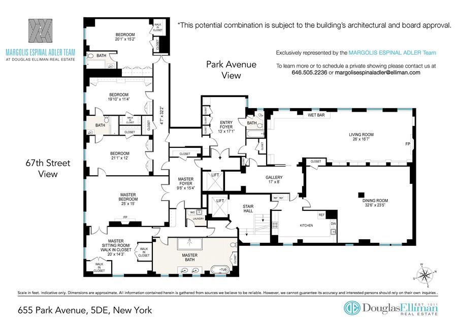Floor plan of 655 Park Avenue, 5DE - Upper East Side, New York