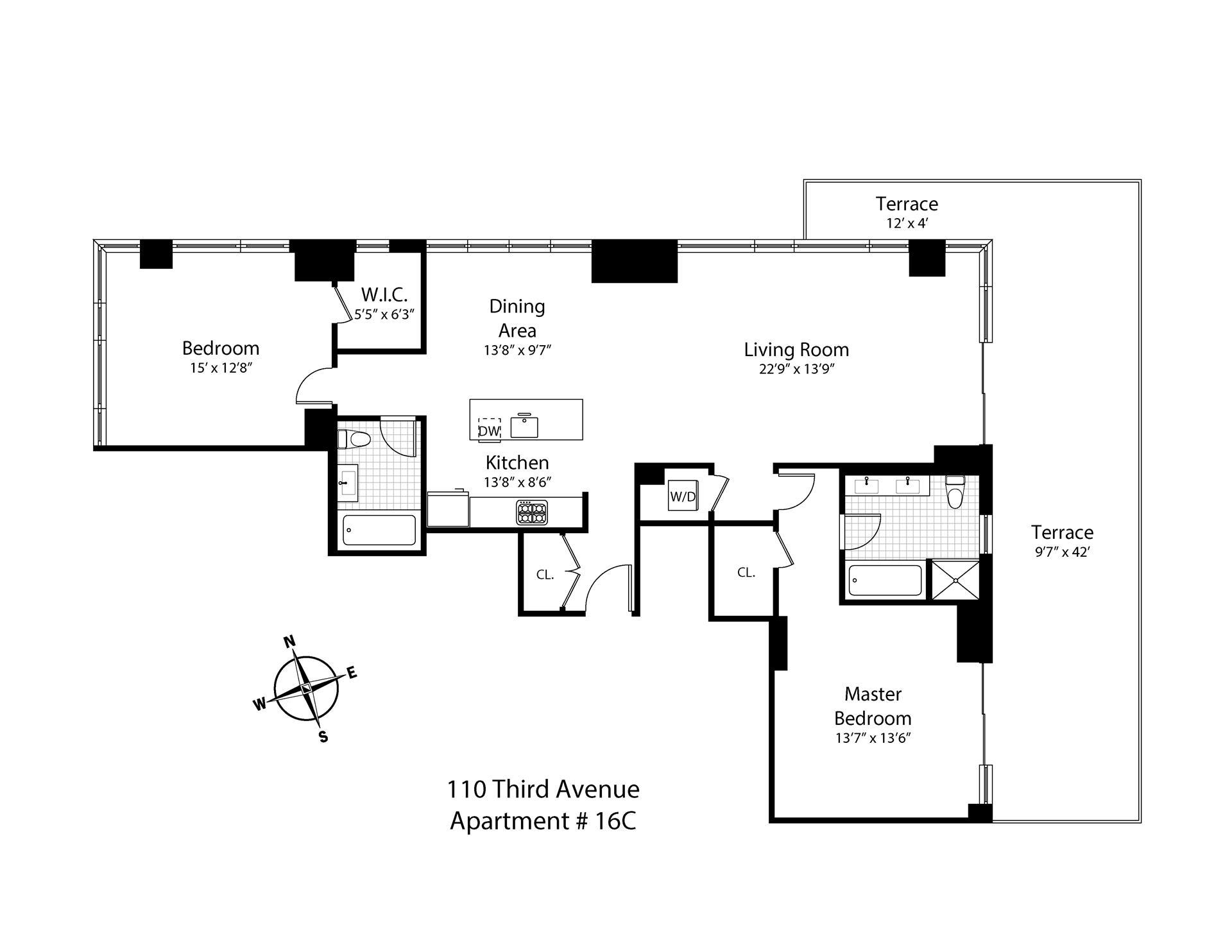 Floor plan of ONE TEN 3RD, 110 Third Avenue, 16C - East Village, New York