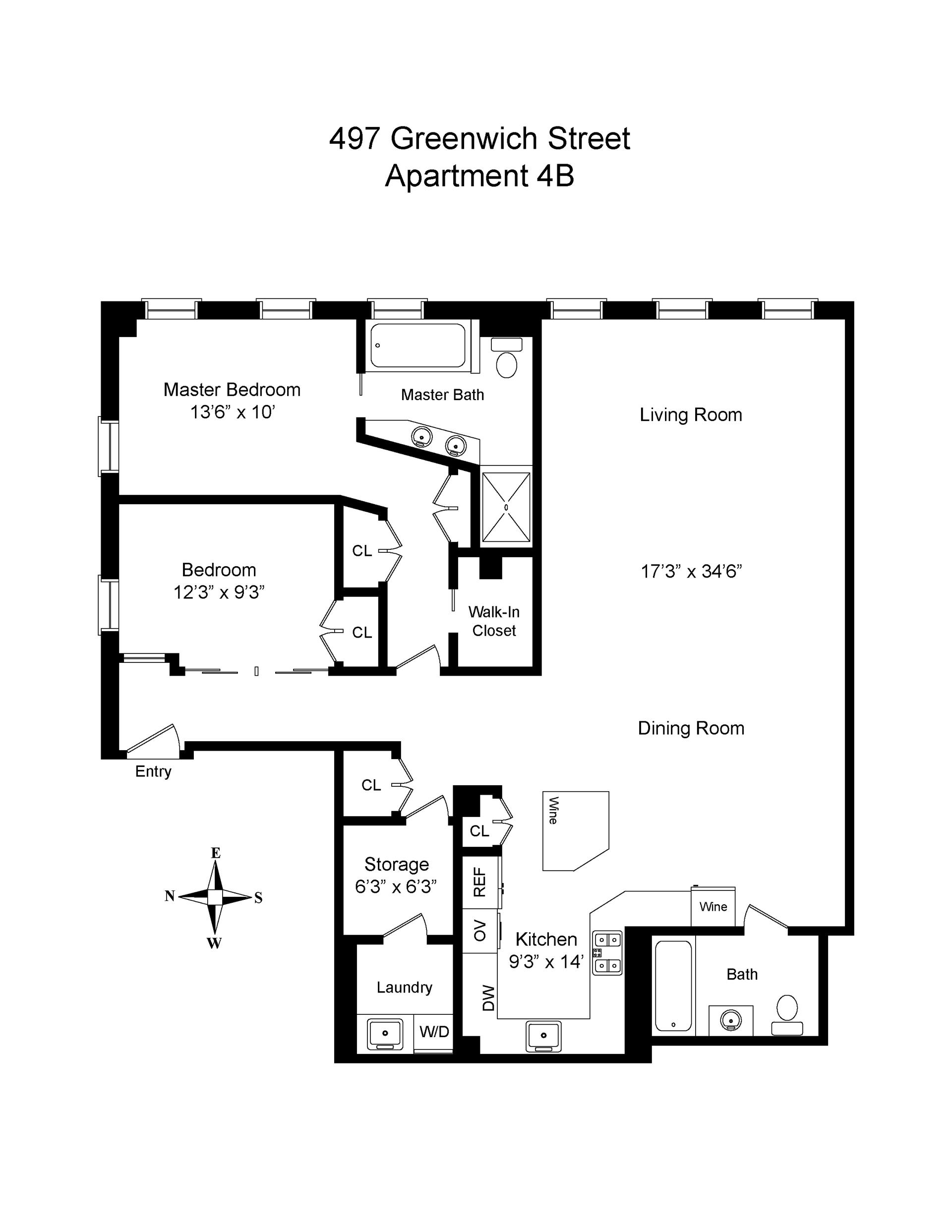 Floor plan of Greenwich Street Project, 497 Greenwich St, 4B - SoHo - Nolita, New York