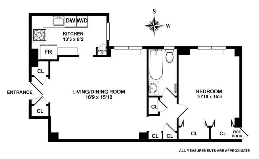 Floor plan of 300 West 108th St, 7E - Upper West Side, New York