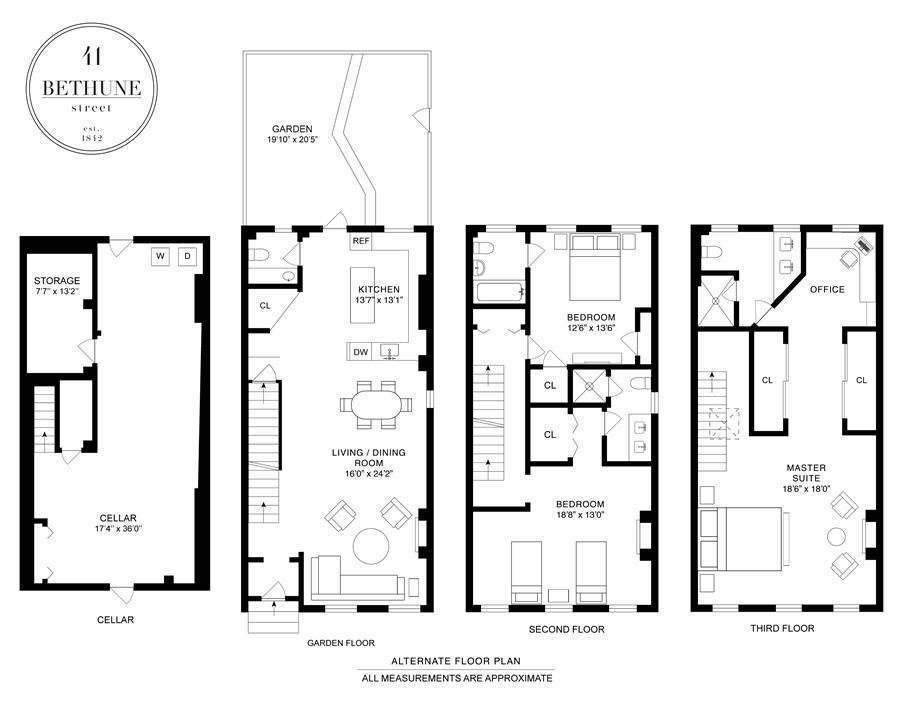 Floor plan of 41 Bethune St - West Village - Meatpacking District, New York