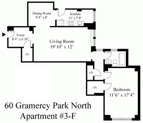 Floor plan of Gramercy Park Resid. Corp., 60 Gramercy Park North, 3F - Gramercy - Union Square, New York