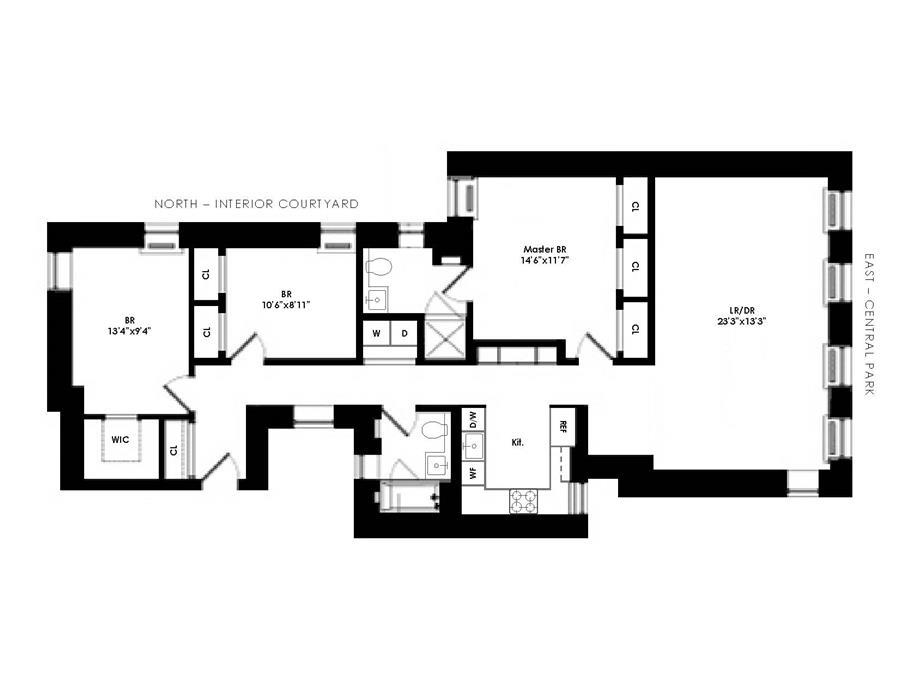 Floor plan of 478 Central Park West, 2A - Upper West Side, New York
