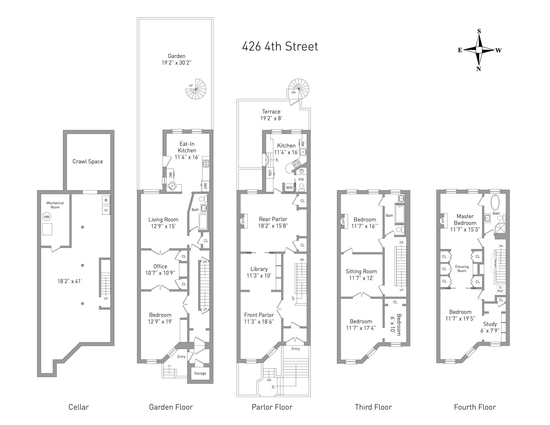 Floor plan of 426 4th St - Park Slope, New York