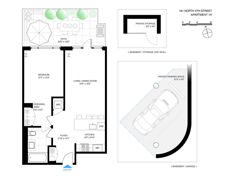 Floor plan of 161 North 4th St, 1H - Williamsburg, New York