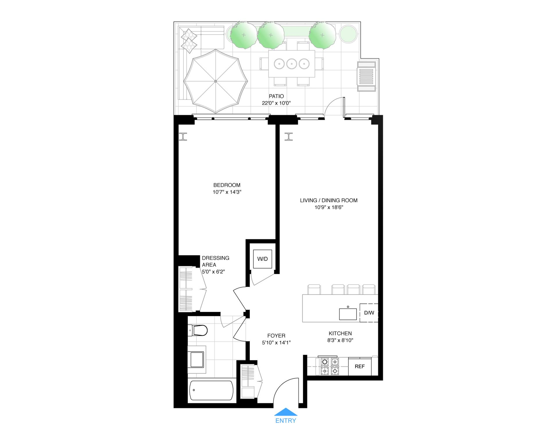 Floor plan of 161 North 4th St, 1H - Williamsburg, New York
