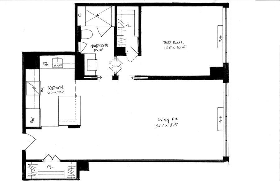 Floor plan of 404 East 79th St, 18E - Upper East Side, New York