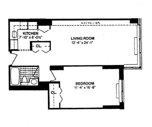 Floor plan of THE BROMLEY, 225 West 83rd St, 8N - Upper West Side, New York