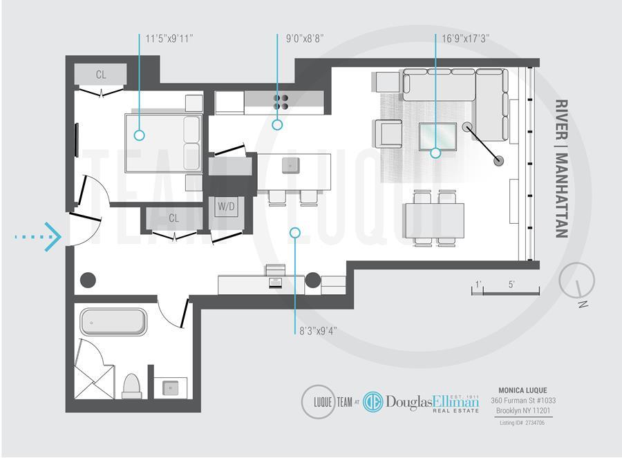 Floor plan of 360 Furman St, 1033 - Brooklyn Heights, New York