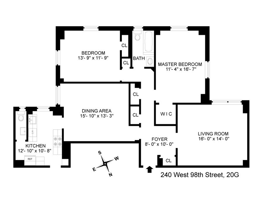 Floor plan of The Sabrina, 240 West 98th St, 10G - Upper West Side, New York