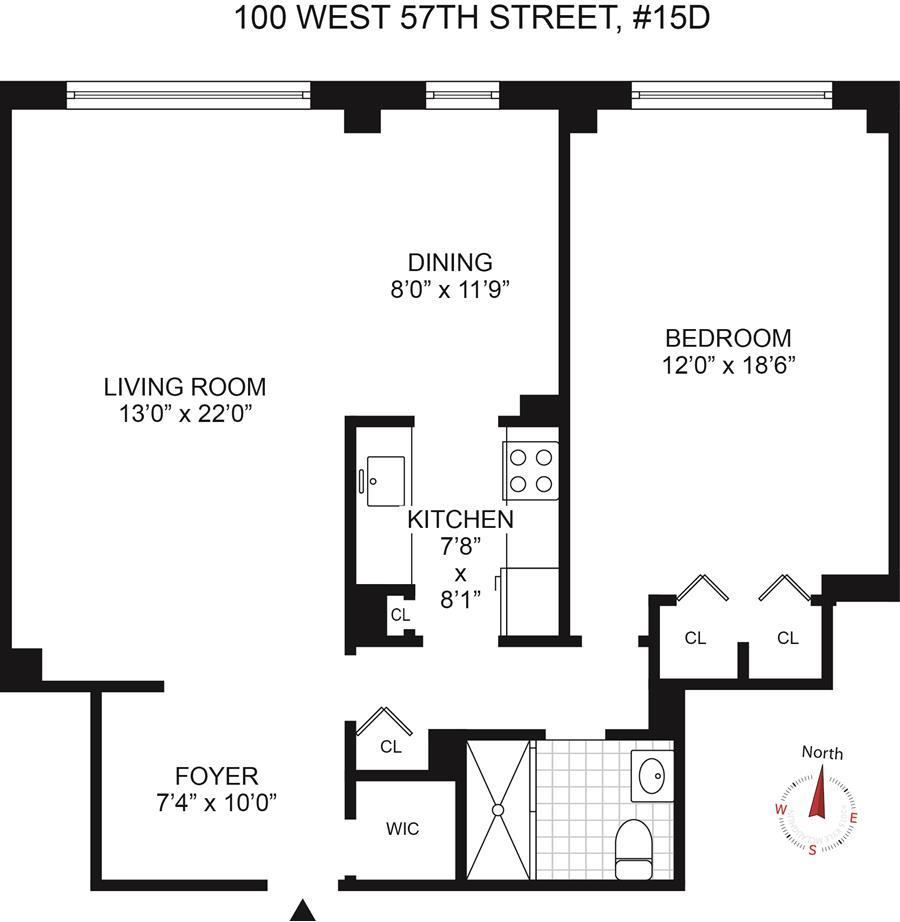 Floor plan of CARNEGIE HOUSE, 100 West 57th St, 15D - Midtown, New York