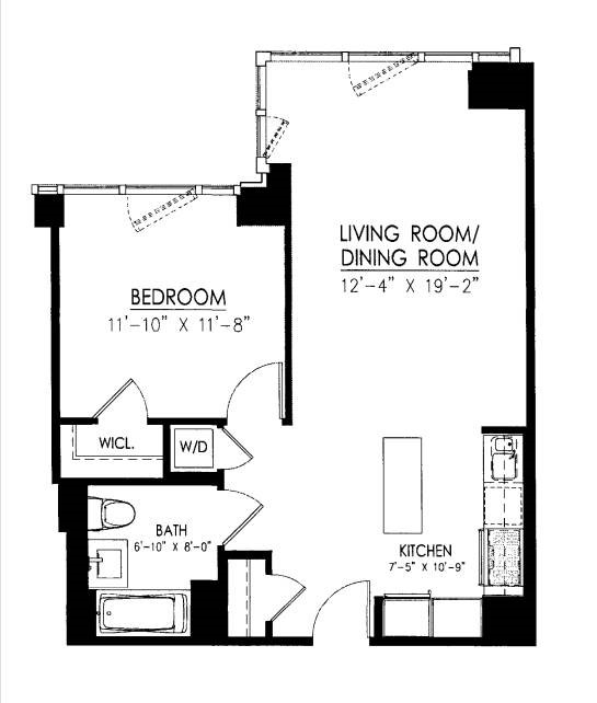 Floor plan of 388 Bridge St, PH46B - Downtown Brooklyn, New York
