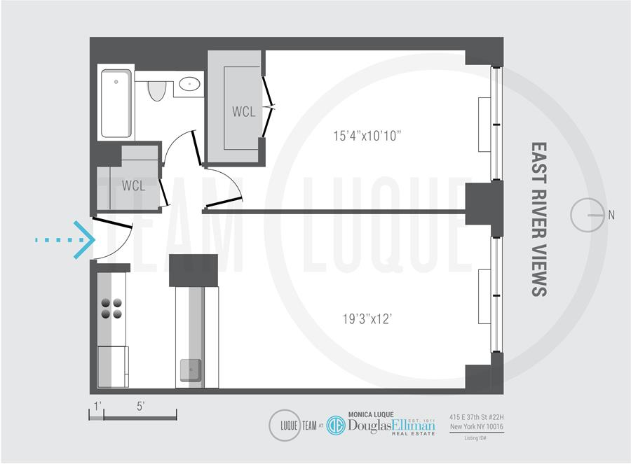 Floor plan of Horizon, 415 East 37th St, 22H - Murray Hill, New York