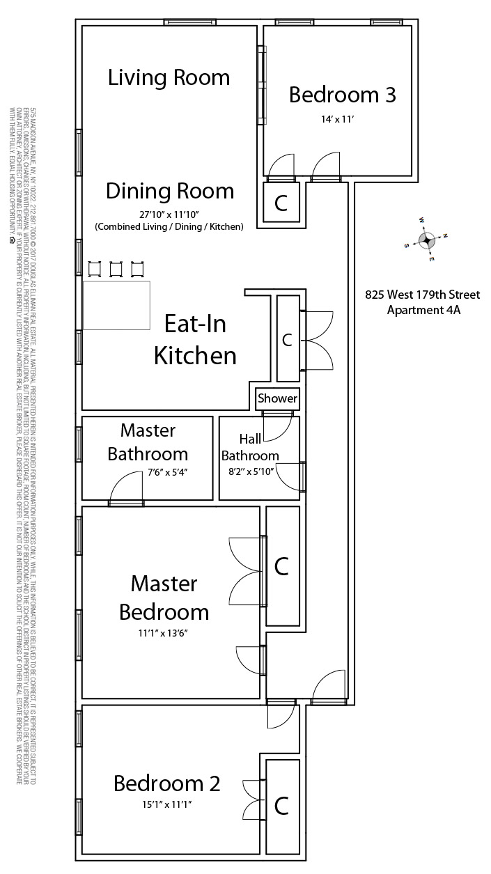 Floor plan of The Cabrini Apartments, 825 West 179th St, 4A - Washington Heights, New York