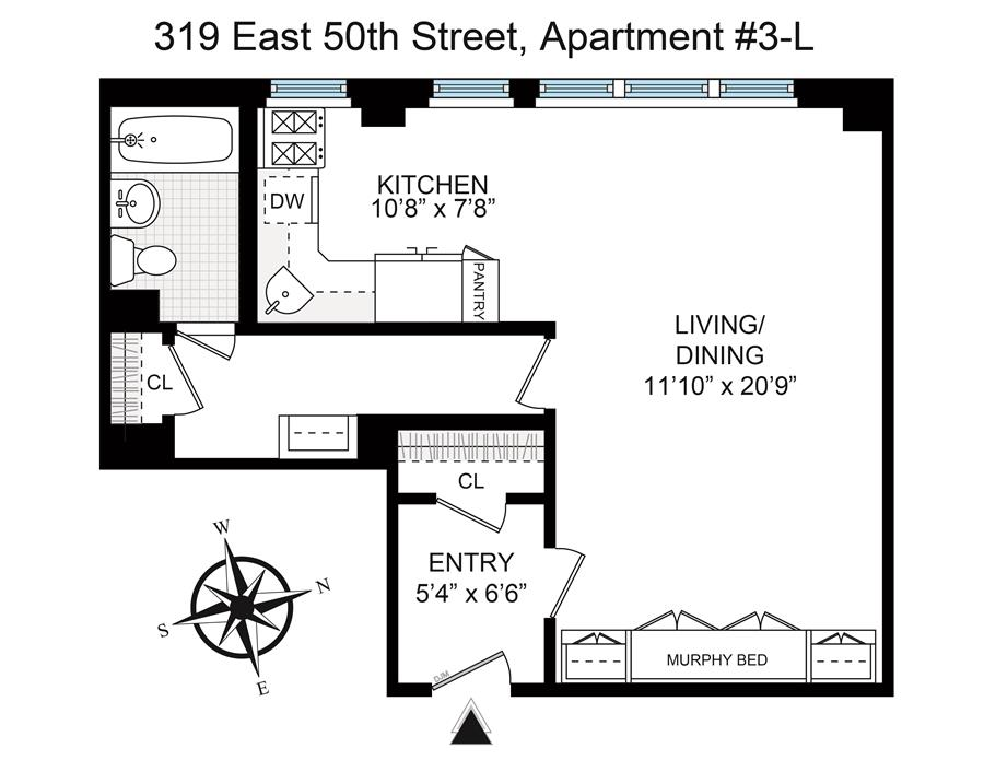 Floor plan of Beekman Hill Apts, 319 East 50th St, 3L - Turtle Bay, New York