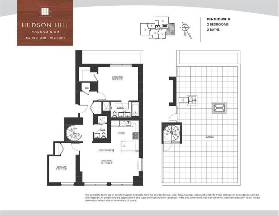 Floor plan of Hudson Hill Condominium, 462 West 58th St, PHB1 - Clinton, New York