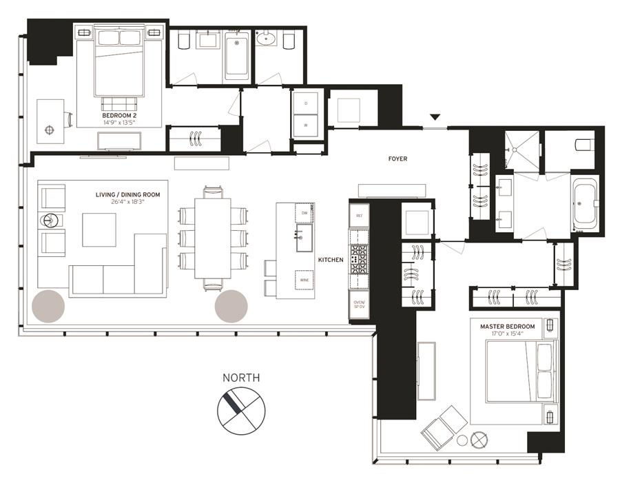 Floor plan of One57, 157 West 57th St, 36C - Central Park South, New York