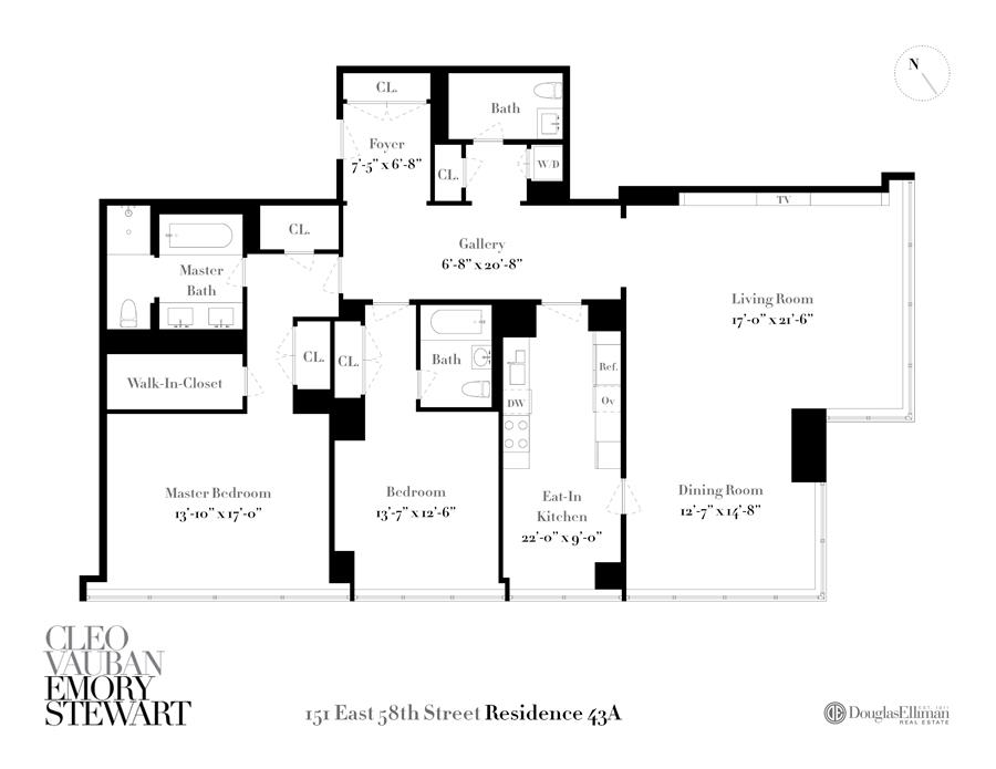 Floor plan of One Beacon Court, 151 East 58th St, 43A - Upper East Side, New York