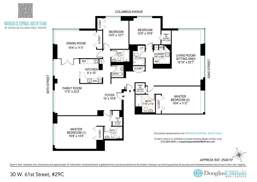 Floor plan of THE BEAUMONT, 30 West 61st St, 29C - Lincoln Square, New York