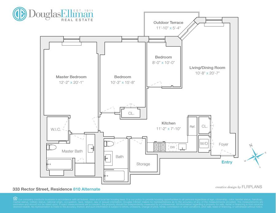 Floor plan of One Rector Park, 333 Rector Pl, 810 - Battery Park City, New York