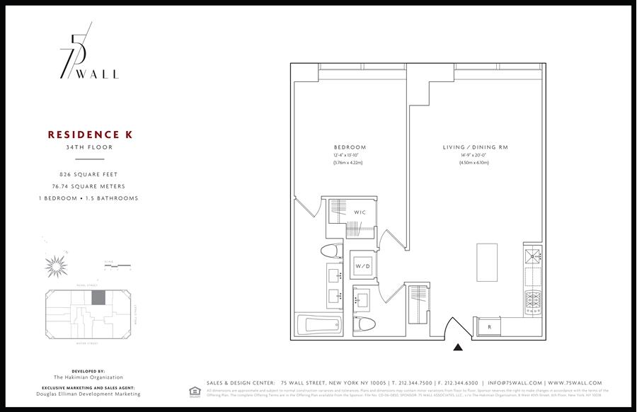 Floor plan of 75 Wall St, 34K - Financial District, New York