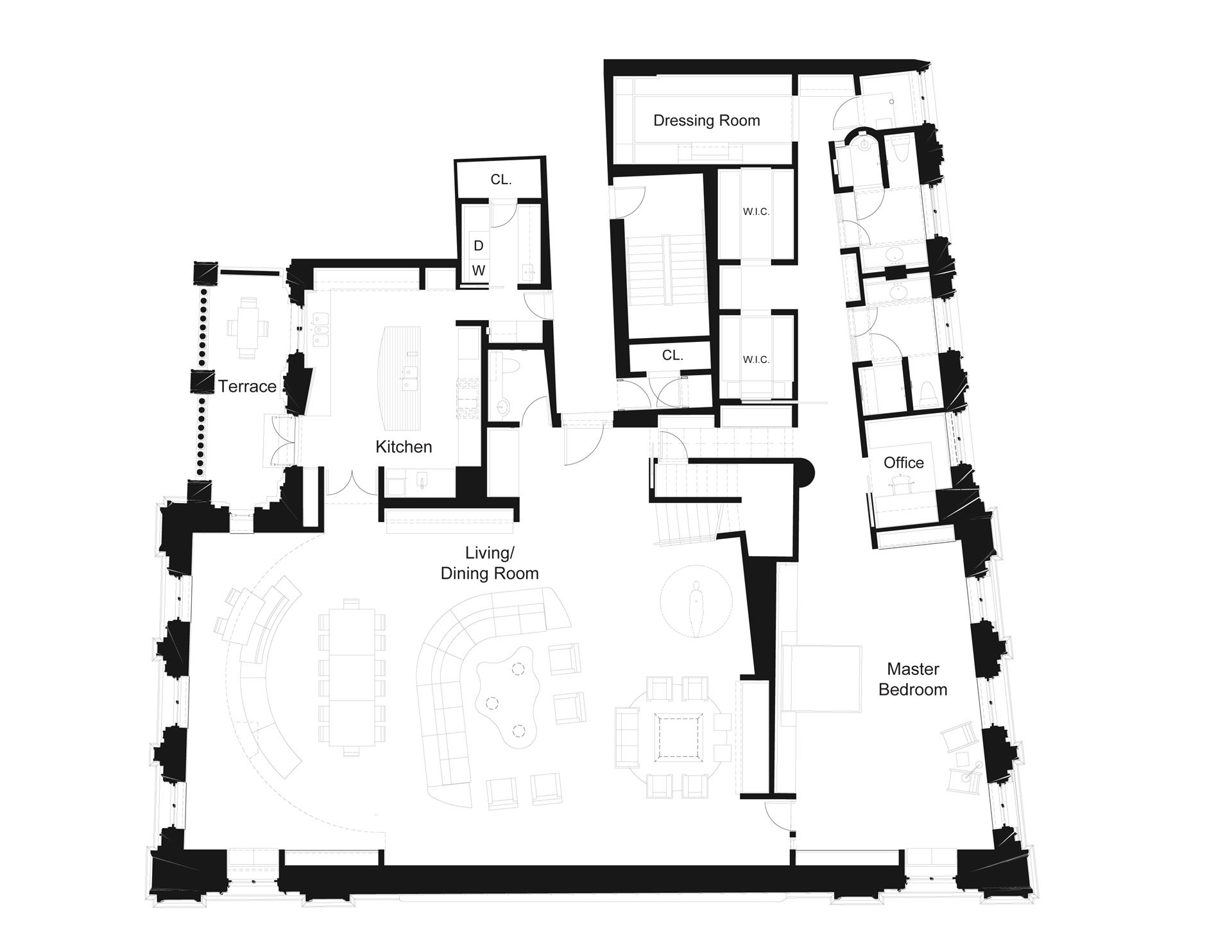 Floor plan of THE POLICE BUILDING, 240 Centre St, 5H - SoHo - Nolita, New York