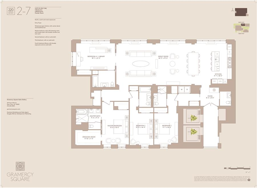 Floor plan of Gramercy Square, 220 East 20th St, 7 - Gramercy - Union Square, New York