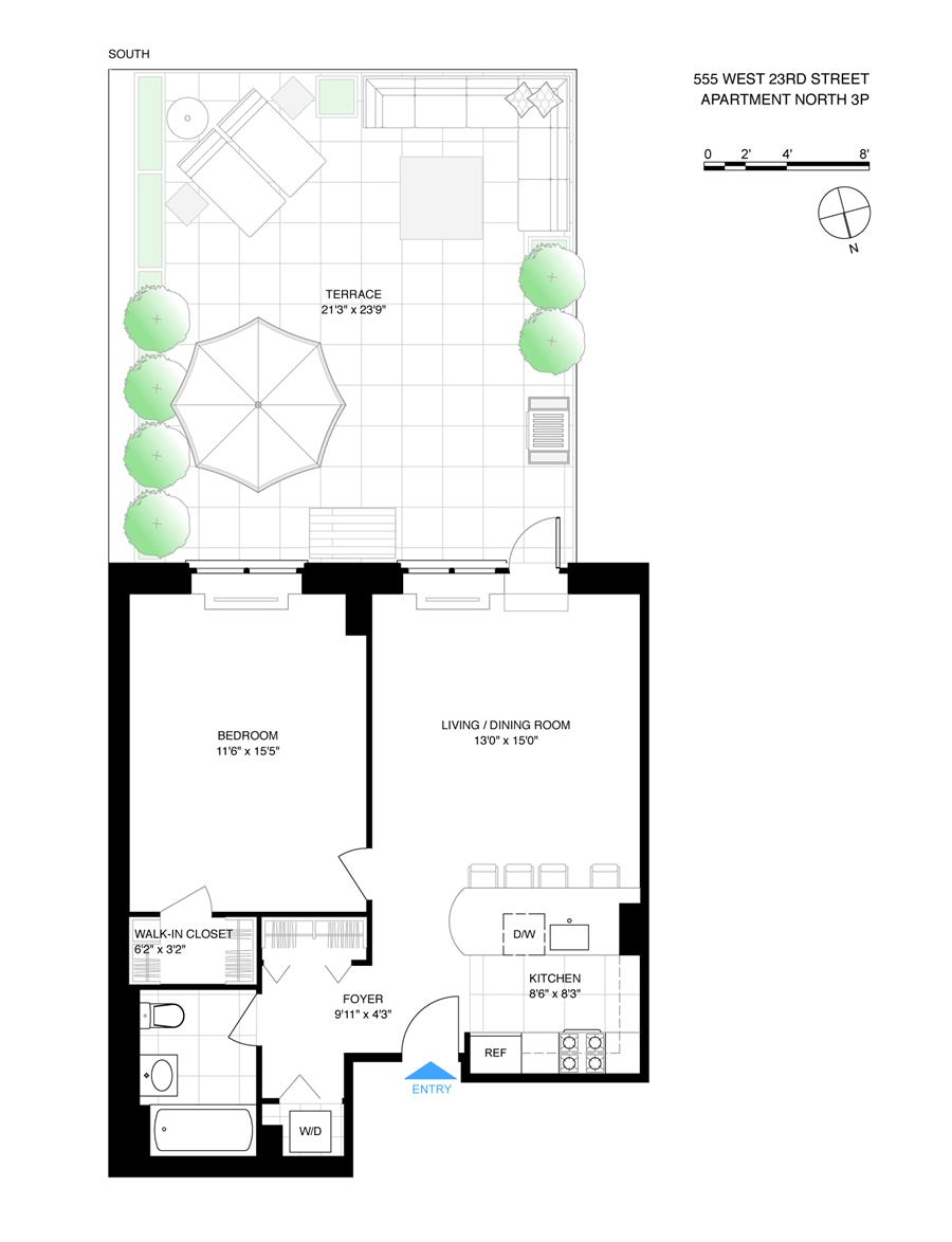 Floor plan of 555 West 23rd St, N3P - Chelsea, New York