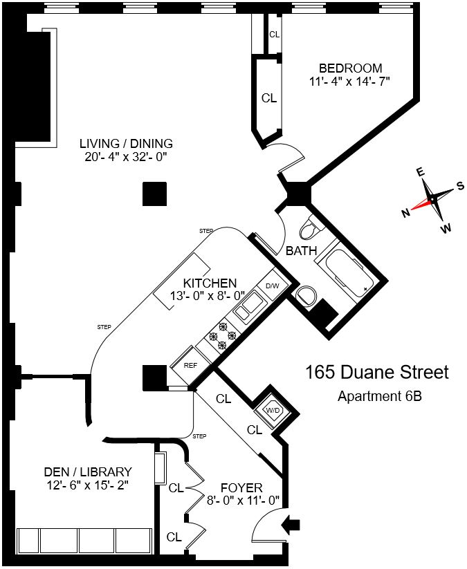 Floor plan of DUANE PARK LOFTS, 165 Duane St, 6B - TriBeCa, New York