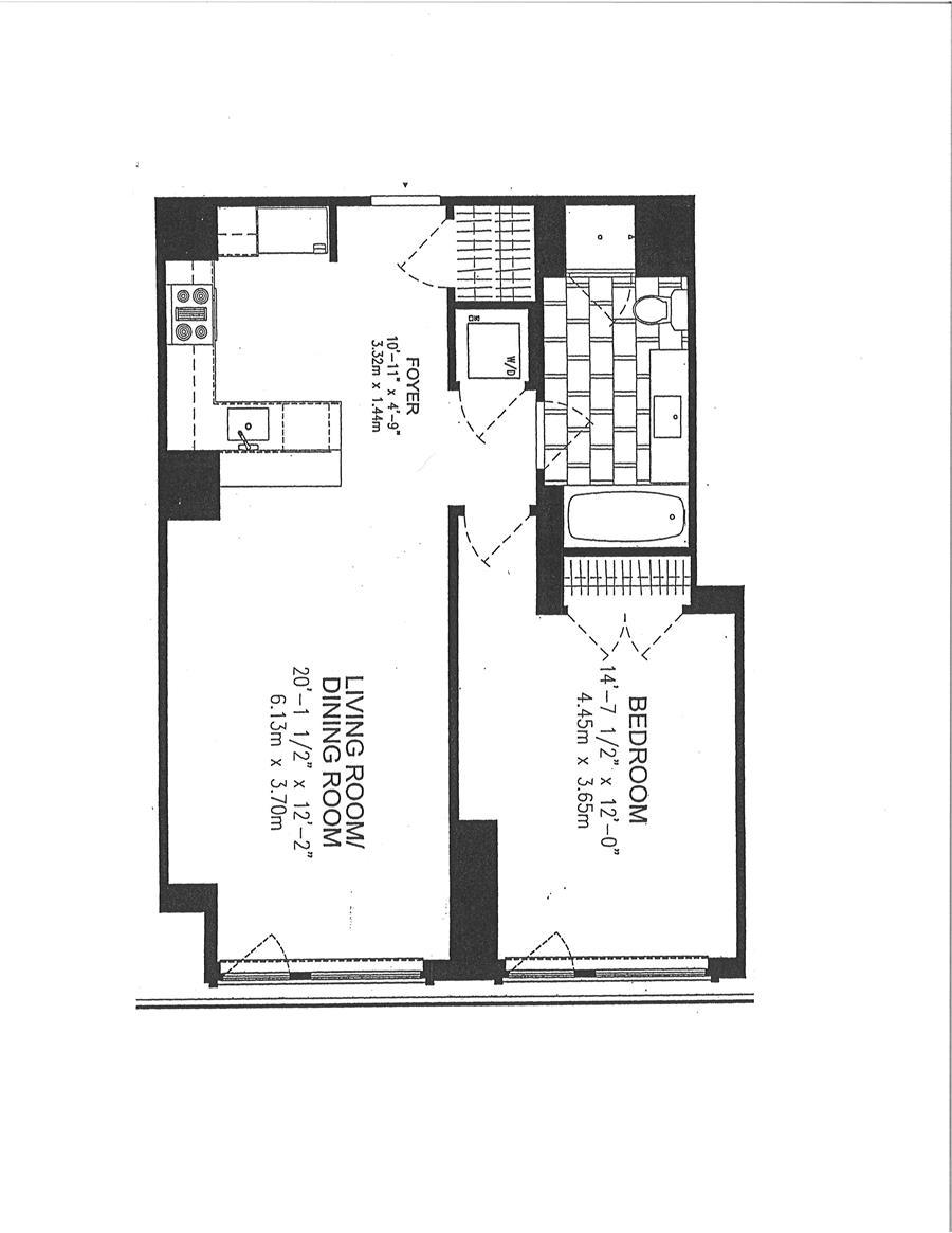 Floor plan of 200 West End Condominium, 200 West End Avenue, 8B - Upper West Side, New York
